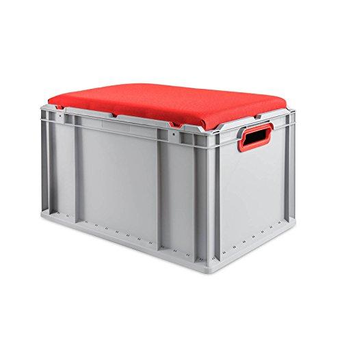 aidB Eurobox NextGen Seat Box, rot, (600x400x365 mm), Griffe offen, Sitzbox mit Stauraum und abnehmbarem Kissen, 1St.