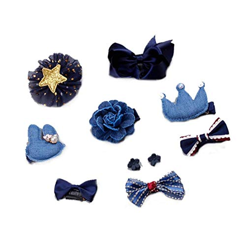 10 PCS arcos del pelo grande grande clips grosgrain cinta Boutique Lazo para el cabello para la joyería de chicas adolescentes Los niños pequeños niños oscuro Azul populares