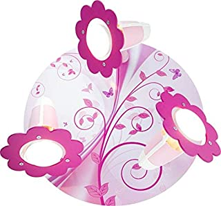 Elobra - Lámpara de pared para habitación infantil (30 x 30 x 18 cm), diseño de mariposa, color rosa