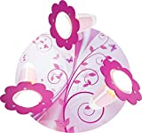 Elobra Kinderzimmerlampe Mädchen 'Phantasie' | Hochwertige Deckenleuchte oder Wandleuchte im Kinderzimmer, rosa, Schmetterling, Blume, aus Echtholz, 30 x 30 x 18 cm