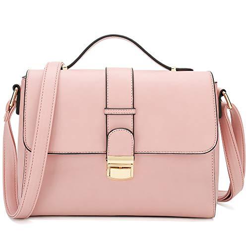 CATMICOO Foldover Umhängetasche Damen Klein Handtasche Elegant für Frauen, Citytasche PU Leder Schultertasche Damen Crossbody Tasche (Rosa)
