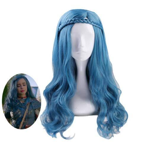Descendientes 2 Evie Azul Verde Mix Peluca ondulada larga Disfraz de Cosplay Mujeres Pelo sintético Fiesta Juego de roles Pelucas + Tapa de peluca Descendientes 2 como la imagen