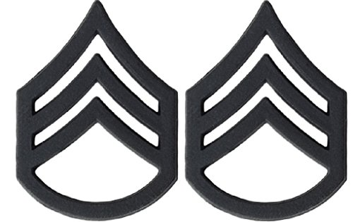 U.S. Army Metal Pin On Enlisted Rank BLACK - 1 PAIR (E6 SSG)