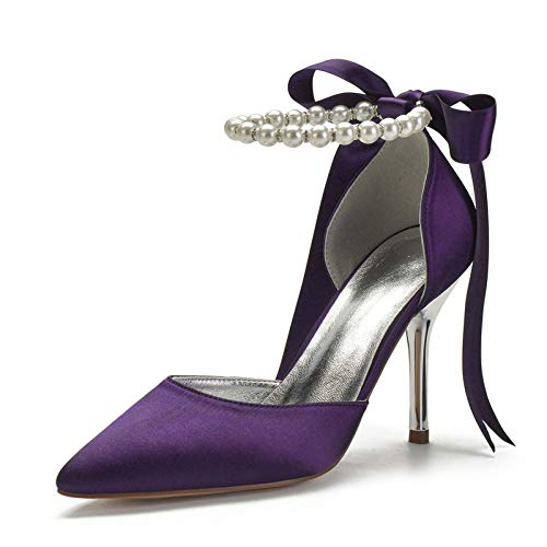 QXue Zapatos de novia para mujer, de satén, con tacón de aguja,...
