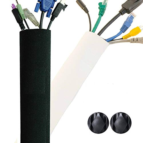 New Design PREMIUM 63'' Cable Management Sleeve, Best Cords Organizer System for TV Computer Office Home Entertainment, DIY Adjustable Black - White Cord Sleeves Wire Cover Concealer Wrap