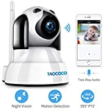 TAOCOCO Dog Camera: FHD Pet Camera WiFi IP Dome Camera for 2.4 GHz, Baby Monitor, Wireless Security Camera, Home Nanny Cam with Smart Pan/Tilt/Zoom, Night Vision, Motion Detection, Two Way Talking