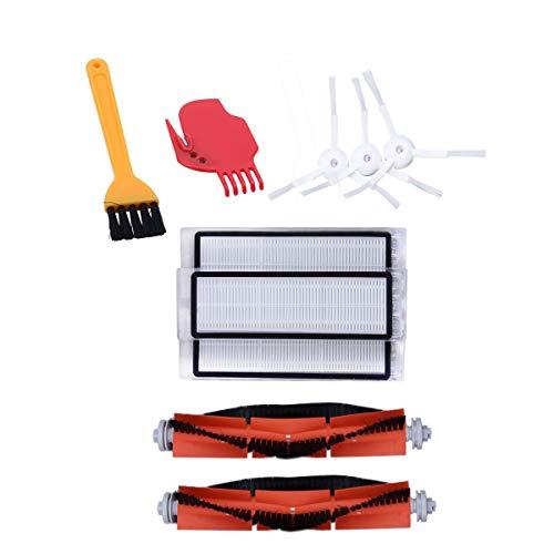 TOOGOO Kit de Accesorios para Xiaomi Mi Piezas de Repuesto de Robot de Vacío 3 Piezas Cepillo Lateral 3 Piezas Filtro Hepa 2 Piezas Cepillo Principal 1 Pieza Herramienta de Limpieza