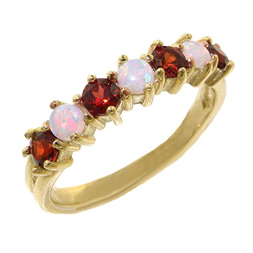 14K Yellow Gold Ladies Colorful Fiery Opal & Garnet Anniversary Eternity Ring - Size V