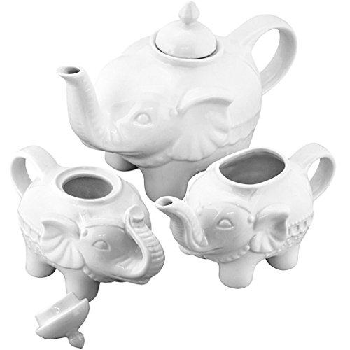 Bia Cordon Bleu Elephant 3 Piece Tea Pot Set - White Porcelain