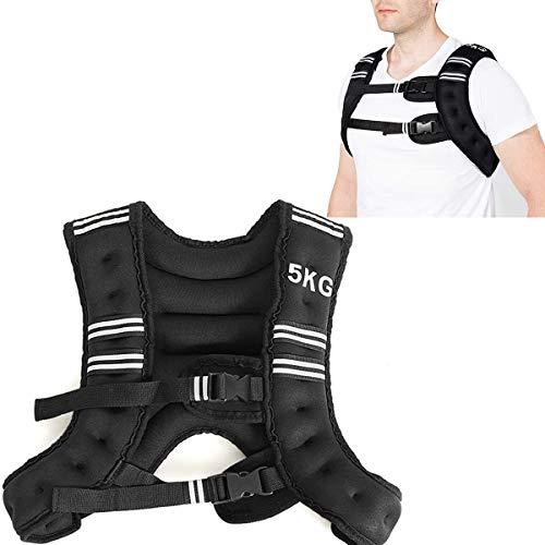 RELAX4LIFE 5/9 kg Gewichtsweste, Ergonomische Fitnessweste, mit reflektierenden Streifen & verstellbaren Trägern, Trainingsweste für Nachtlauf, Fitness, Gewichtsverlust & Muskeltraining (5 kg)