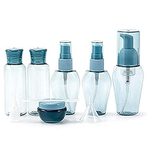 PetKids - Lote de 9 botellas de viaje para cosméticos con bolsa con cierre de cremallera, para hombres y mujeres, kit de viaje para cosméticos, champús, gel de ducha y crema, azul (Azul) - YTH2MELWW0