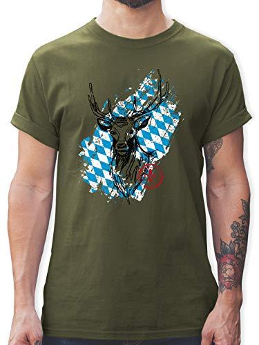 Oktoberfest & Wiesn Herren - Hirsch mit bayrischem Muster - XL - Army Grün - Shirt mit Hirsch Herren - L190 - Tshirt Herren und Männer T-Shirts