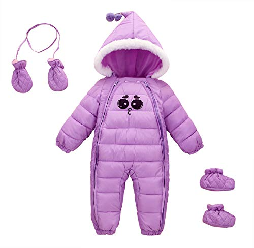Feoya Schneeanzug für Neugeborene, für den Winter, mit Kapuze, für Kinder im Winter mit Handschuhen und Schuhen, Violett 0-6 Monate