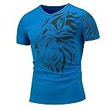 Camiseta Hombre Verano Clásica Moda Cuello V Slim Fit Hombre Shirt Moderna Tendencia Letras Impresión Manga Corta Diario Casual Cómodo Tall-Match Casuales Camisa G-Blue XXL