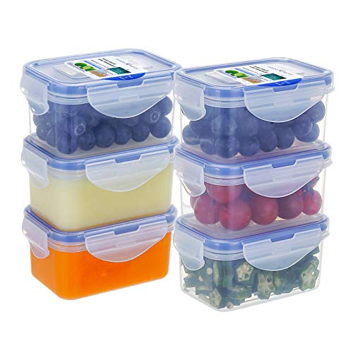 [6Pack] 6.1oz Airtight Plastic Food Storage Containers Set, Rectangular Small Storage Boxes, Microwave, Freezer and Dishwasher Safe