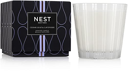 NEST Fragrances 3-Wick Candle- Cedar Leaf & Lavendar , 21.2 oz