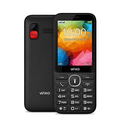 Wiko F200 Téléphone portable débloqué 2G (Ecran 2,8 pouces - Batterie 1200 mAh - Bouton SOS et socle de chargement) Black