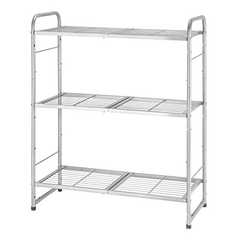 Simple Trending 3-Tier Adjustable Wire Shelving Unit Storage Rack, Expandable & Stackable Kitchen Laundry Bathroom Cabinet Organizer, Silver