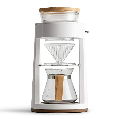 BZLEK Automatic Coffee Machine Drip Coffee Maker Glass Pot,Coffee Iced Coffee Maker with Retro Mechanical Switch, Temperature Resistant Glass, Fan-Shaped Filter Cup, for Home Office Kitchen,White