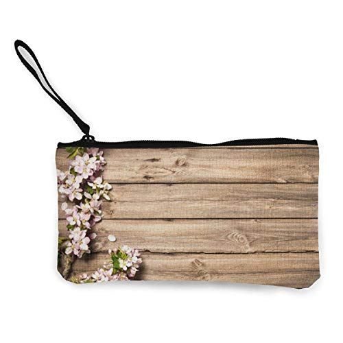 Yuanmeiju Wooden Blooming Orchard Women and Girls Cute Fashion Canvas Porta monete Change Coin Bag Zipper Small Purse Wallets for Keychain Money Travel Pouches