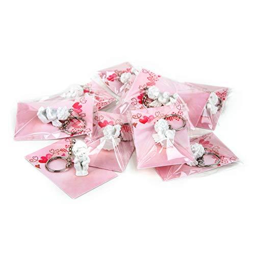 Logbuch-Verlag Lot de 10 mini figurines d'ange Rose Cadeau de Noël Petit porte-clés Ange Cadeau de Noël Cadeau pour les clients employés enfants collègues
