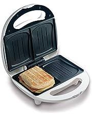 Domo DO9041C Sandwich-broodrooster bakt 2 sandwiches tegelijkertijd in schelpbakvorm, baklampje voor optimale en gelijkmatige bakresultaten, geen plakken dankzij de anti-aanbaklaag, 700 watt, wit