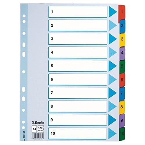 ESSELTE 100161 - Indice para carpetas multitaladro cartón MYLAR DIN A4 con cartulina índice color 1-10 multicolor