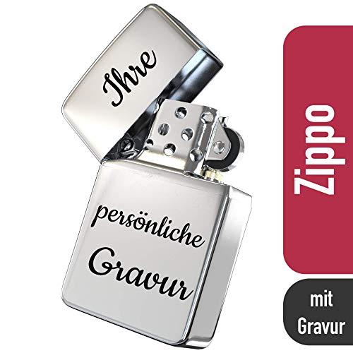 Zippo mit Gravur - personalisierte Geschenke I Zippo Feuerzeug I Chrome Standard I Feuerzeug Gravur I Sturmfeuerzeug mit Gravur - Brushed Silber