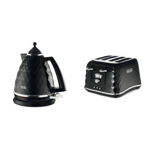 De'Longhi Brillante Faceted Jug Kettle, 3 KW - Black & De'Longhi CTJ4003.BK Brillante Faceted 4 Slice Toaster - Black