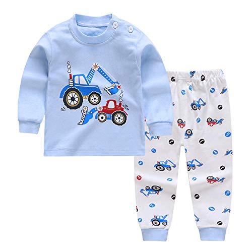 Pijamas de Manga Larga para Niños, Morbuy Pijamas Dos Piezas Bebe Niño y Niña Otoño Suave Y Cómoda Ropa 100% Algodón Ceñido Mantener Caliente Camisa + Pantalón (90cm,Carro Azul)