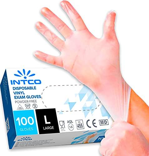100 guanti in vinile L senza polvere, senza lattice, ipoallergenici, certificati CE trasparenti conforme alla norma EN455 e EN374 per i test dei guanti medici monouso (L)