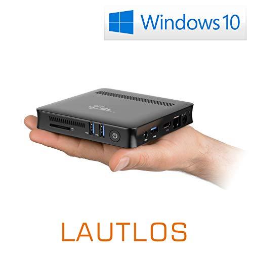 Mini-PC - lautlose CSL Narrow Box Ultra HD Compact v2 / Win 10 - Silent-PC mit Intel-CPU 4X 2500MHz, 64GB eMMC, 4GB RAM, Intel UHD600, AC WLAN, USB 3.1, HDMI, Bluetooth, Windows 10