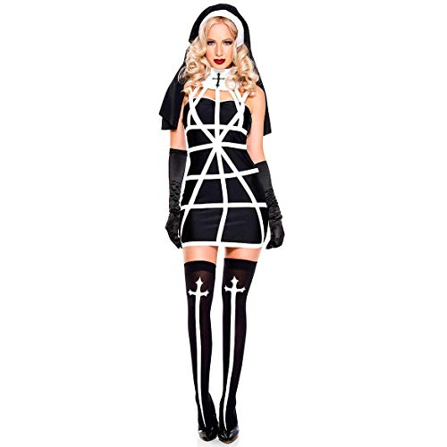 BCOGG Disfraz de Monja Vampiro Sexy Vestido de Mujer Adulta + Sombrero + Guantes para Disfraz de Juego de Halloween Cosplay Negro Blanco Raya Monja Trajes C52585AD Talla nica