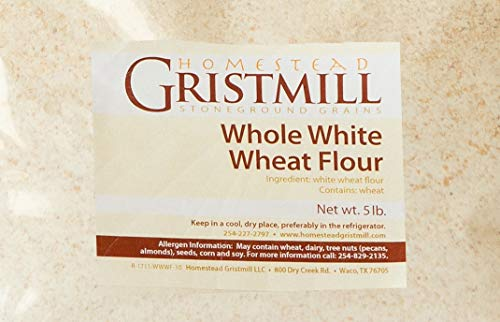 Homestead Gristmill — Non-GMO, Chemical-Free, All-Natural, Stone-ground Whole White Wheat Flour (5 lb), Artisanally Milled from Hard White Wheat Berries