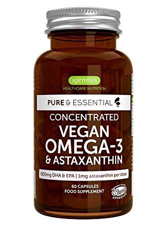 Pure & Essential Vegan Oméga-3, 1340mg Huile d'Algues (DHA + EPA 600mg) & Astaxanthine, Végétalien, 60 capsules