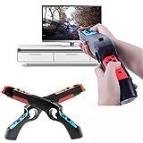 Awaqi 2 Packs Ergonomic Peripherals Hand Grip Sense Armas Handle Joypad Holder Stand Game Gun Compatible with Nintendo Switch Joy Con Controller (2- Pack)