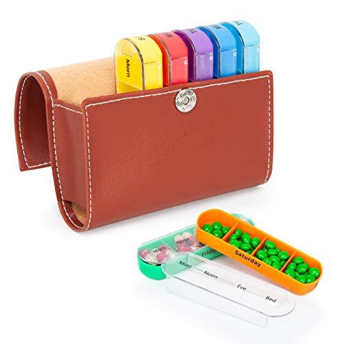 Tablettenbox 7 Tage 4 Fächer - Pillenbox mit PU-Lederetui für Reisen, Pillendose Morgens Mittags Abends Nachts - Tablettendose Ideal für Medikamente, Tabletten, Kapseln, Vitaminergänzungen