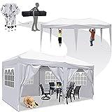 Pavillon Gartenpavillon 3x6m, Wasserdicht Faltbare Pavillon Zelt Faltpavillon mit 4 Seitenteilen Wänden UV-Schutz für Garten/Party Hochzeit Picknick Markt