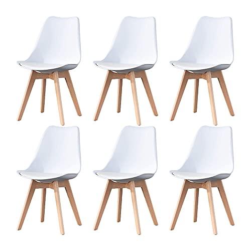 Sedie da pranzo moderne di metà secolo Set di 6 sedie da cucina bianche imbottite con gamba della sedia in materiale massello di faggio per soggiorno camera da letto