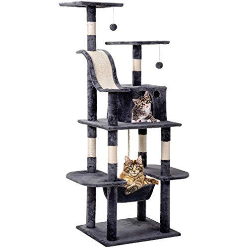 Homnoble Kratzbaum groß für Katzen mit Sisal-Kratzstangen, Höhle, einem Korb und Häuschen, 2 kuschelige Aussichtsplattformen,Kletterbaum für Katzen(Höhe 170 cm),4 stabile Säulen