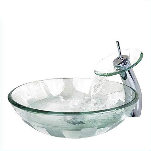 Gorheh Glasschale, Waschbecken, Waschbecken Mit Wasserfall Wasserhahn Gehärtetes Glas Waschbecken Set