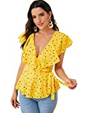 SOLY HUX Women's Ruffle Hem Bow Tie Wrap Knotted Blouse V Neck Peplum Sexy Top Yellow Large