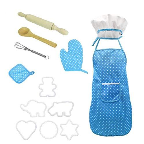 tJexePYK Delantal de los niños, cocinar, Hornear, Actividades de la Comunidad, Artes y la artesanía Pintura Actividades, Delantal de los niños, de los niños (un Pack de 11) (Azul)