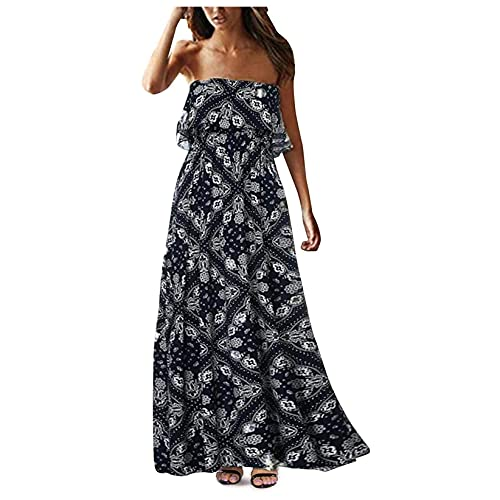 OutTop Women s Off Shoulder Wrap Maxi Dress Summer Casual Strapless Ruffle Beach Long Dresses Boho Floral Sundress (#01-Navy, M)