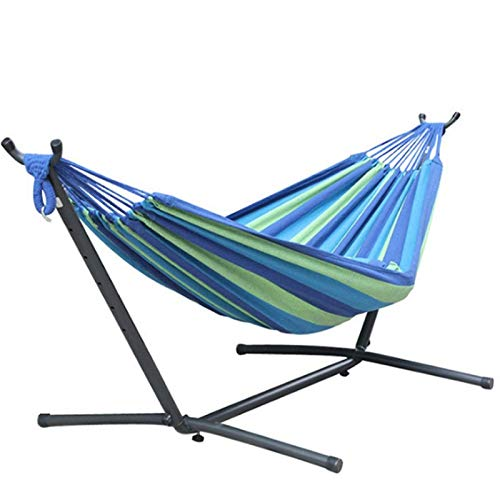 SEAIPEN Outdoor Hammock with Stand 2 Person Heavy Duty,Hamacas para Patio Includes Portable Carrying Bag,Durable Indoor Standing Hammock Bed (Blue/Green) … (Blue-Green)