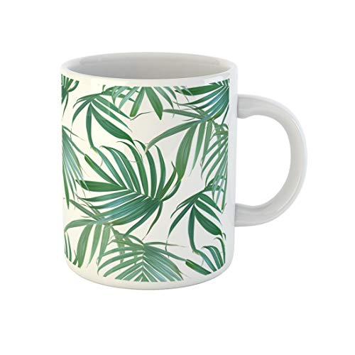 Awowee Coffee Mug Palm Frond Tropical Leaves Banana Leaf Exotic Hawaiian Jungle 11 Oz Ceramic Tea Cup Mugs Best Gift Or Souvenir For Family Friends Coworkers