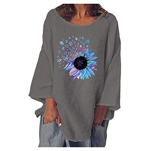 XUNN Chiffon Blumentop - Camicia da donna in chiffon, con volant da allacciare, maniche lunghe, I-grigio., S