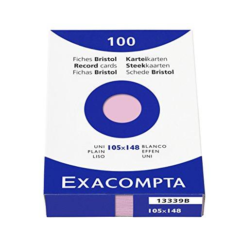 Exacompta 13339B Packung (mit 100 Karteikarten, DIN A6, 105 x 148 mm, blanko, ideal für die Schule) 1er Pack rosa