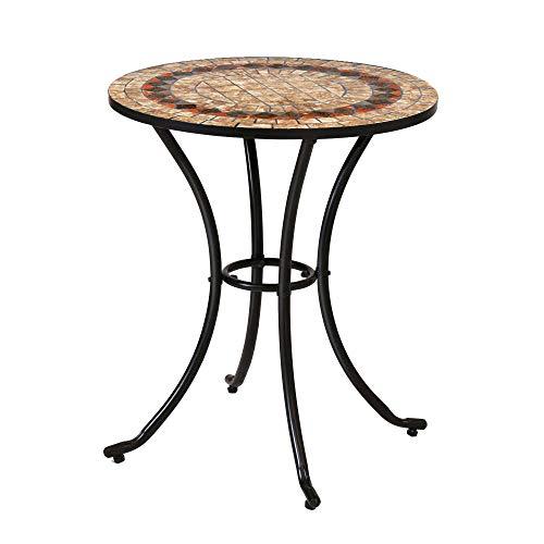 Mesa de jardín Auxiliar de cerámica marrón de 60x70 cm -