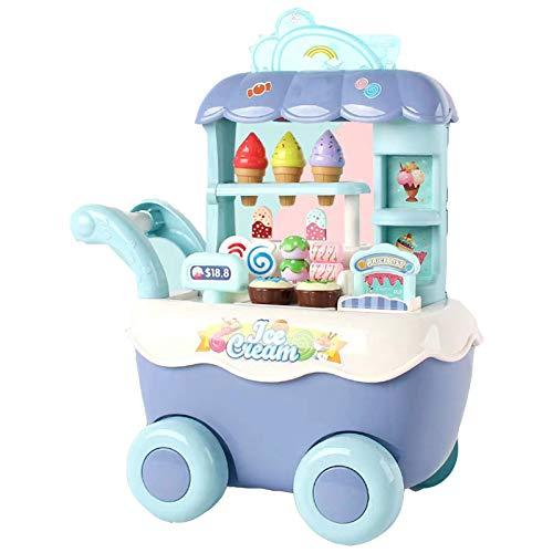 DUTUI Carro de helados para niños Carro de caramelo Simulación Supermercado Compras Carro de simulación Carro de juguete Juguete de cocina Juguetes educativos, Azul